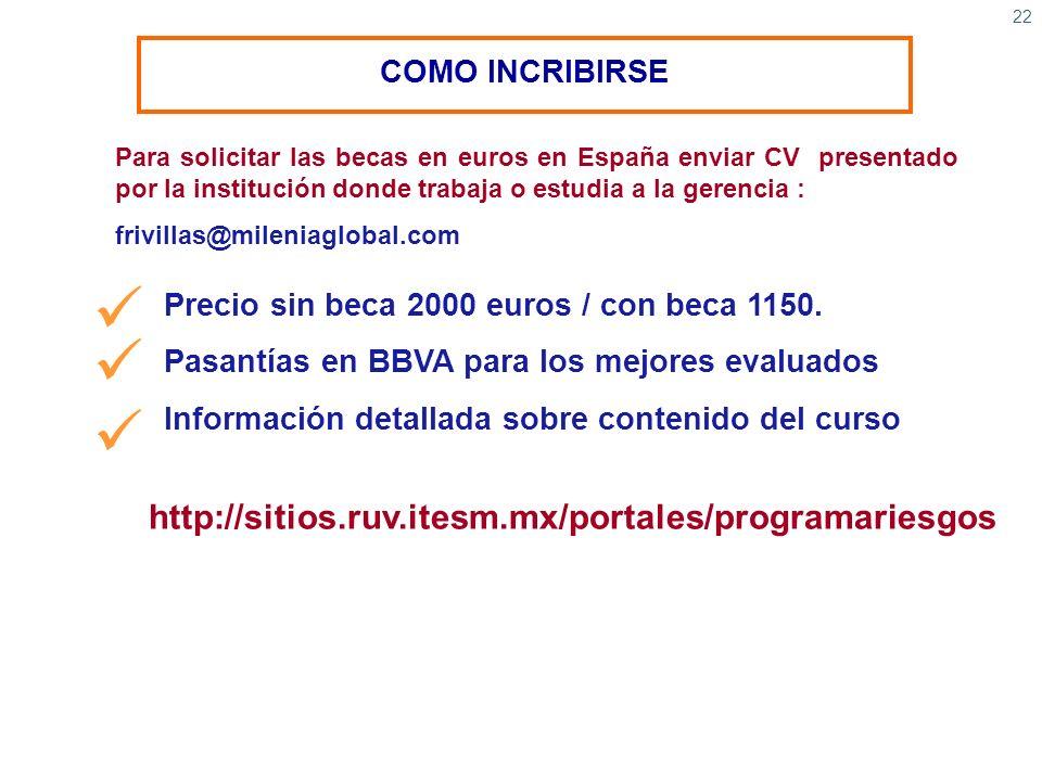 22 COMO INCRIBIRSE Para solicitar las becas en euros en España enviar CV presentado por la institución donde trabaja o estudia a la gerencia : frivill