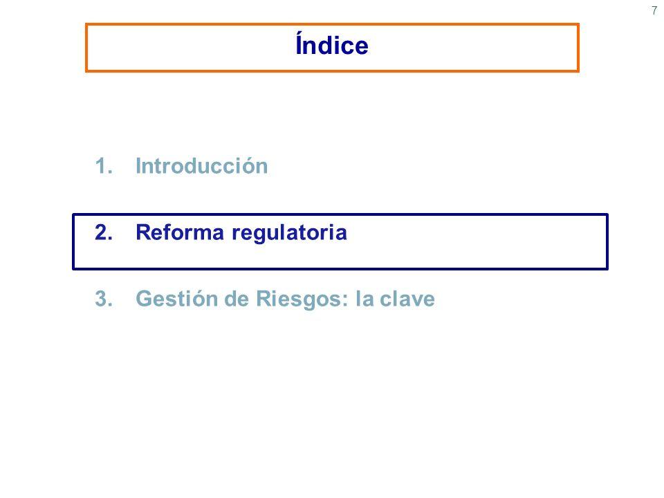 7 1.Introducción 2.Reforma regulatoria 3. Gestión de Riesgos: la clave Índice