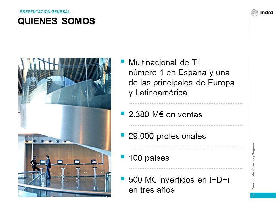 Mercado de Finanzas y Seguros 3 QUIENES SOMOS Multinacional de TI número 1 en España y una de las principales de Europa y Latinoamérica 2.380 M en ventas 29.000 profesionales 100 países 500 M invertidos en I+D+i en tres años PRESENTACIÓN GENERAL