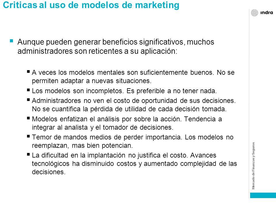 Mercado de Finanzas y Seguros Importancia y beneficio en el uso de modelos La premisa básica de hacer ingeniería de marketing es que el proceso de con