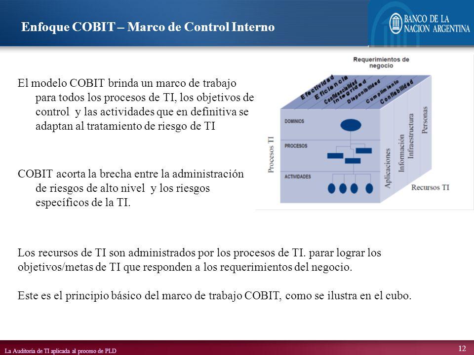 La Auditoría de TI aplicada al proceso de PLD 12 El modelo COBIT brinda un marco de trabajo para todos los procesos de TI, los objetivos de control y