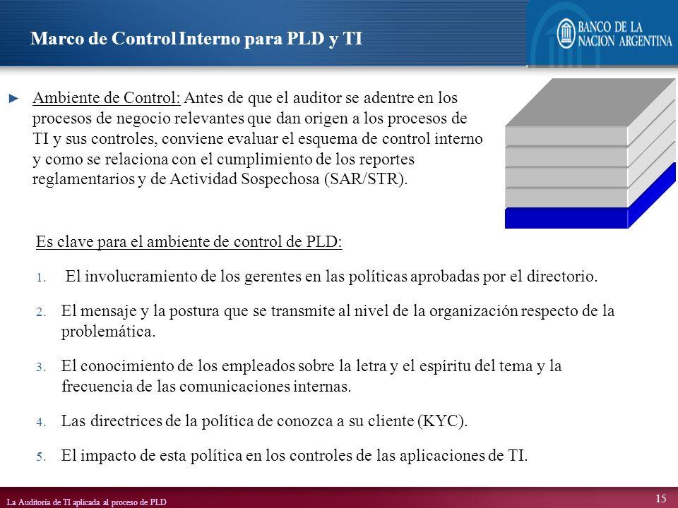 La Auditoría de TI aplicada al proceso de PLD 15 Es clave para el ambiente de control de PLD: 1. El involucramiento de los gerentes en las políticas a