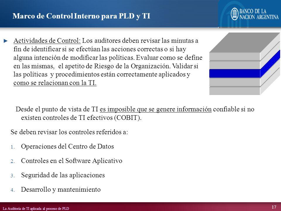 La Auditoría de TI aplicada al proceso de PLD 17 Desde el punto de vista de TI es imposible que se genere información confiable si no existen controle