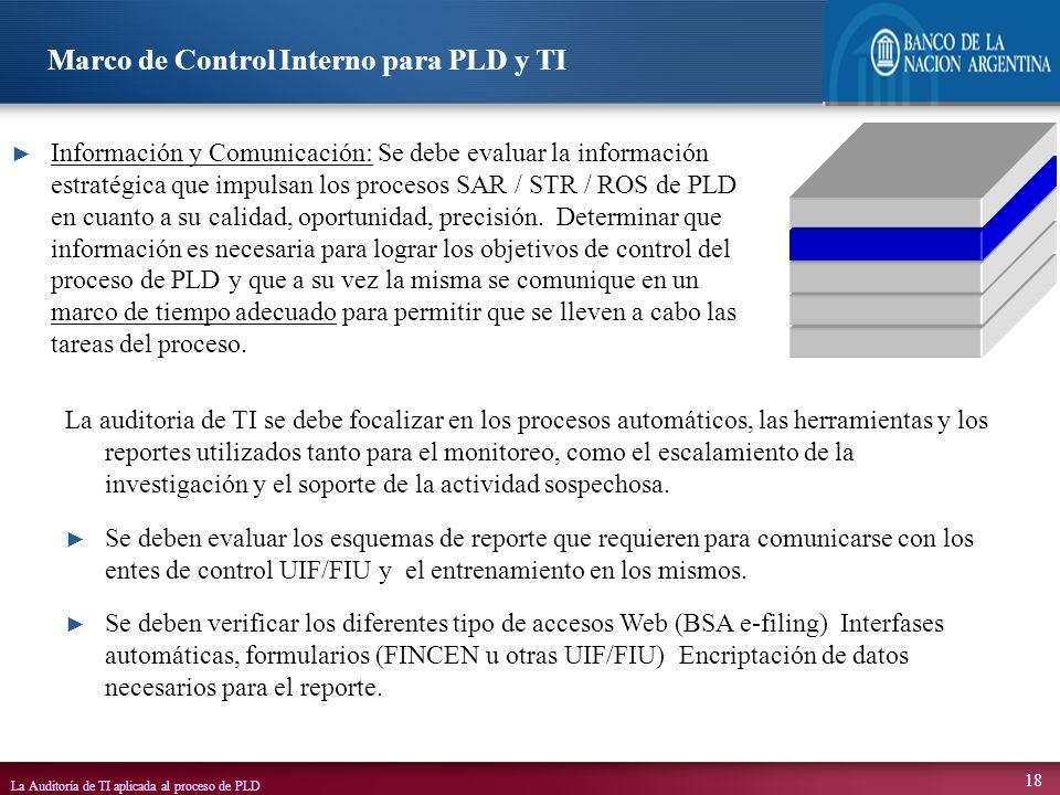 La Auditoría de TI aplicada al proceso de PLD 18 La auditoria de TI se debe focalizar en los procesos automáticos, las herramientas y los reportes uti