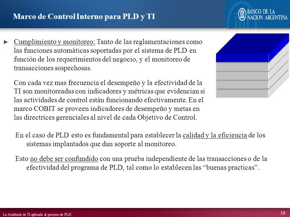 La Auditoría de TI aplicada al proceso de PLD 19 En el caso de PLD esto es fundamental para establecer la calidad y la eficiencia de los sistemas impl