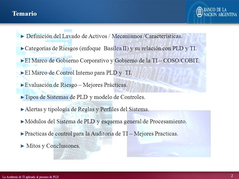 La Auditoría de TI aplicada al proceso de PLD 2 Definición del Lavado de Activos / Mecanismos /Características. Categorías de Riesgos (enfoque Basilea