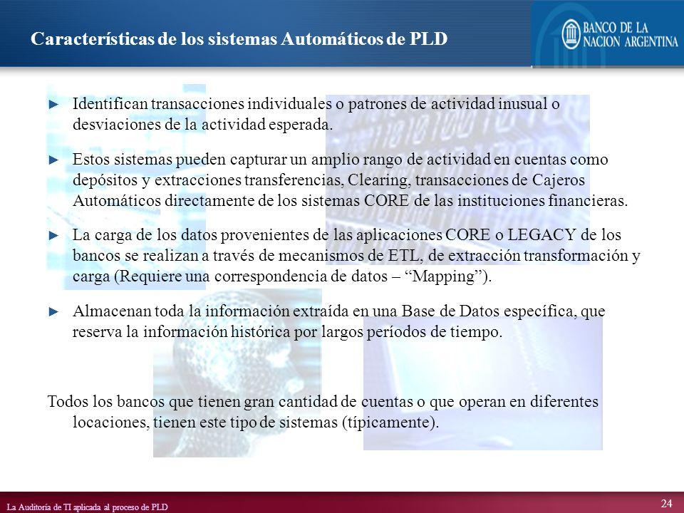 La Auditoría de TI aplicada al proceso de PLD 24 Identifican transacciones individuales o patrones de actividad inusual o desviaciones de la actividad