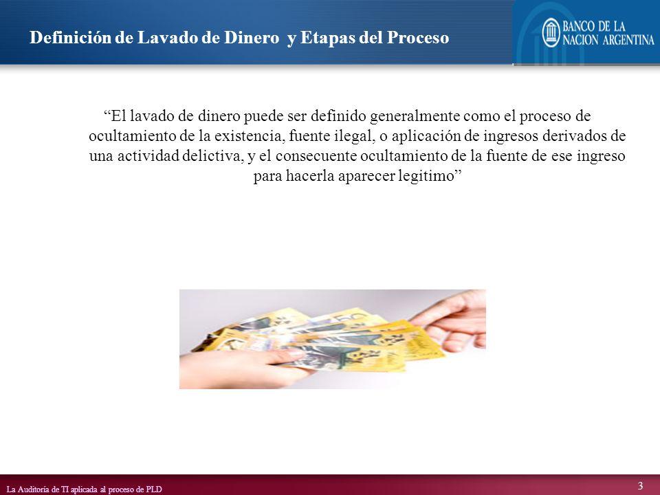 La Auditoría de TI aplicada al proceso de PLD 4 Tiene tres etapas definidas La colocación de fondos de origen ilícito en el mercado financiero legítimo La estratificación de esos fondos de manera de disfrazar su origen, o pertenencia con sucesivas transacciones financieras (Ej.