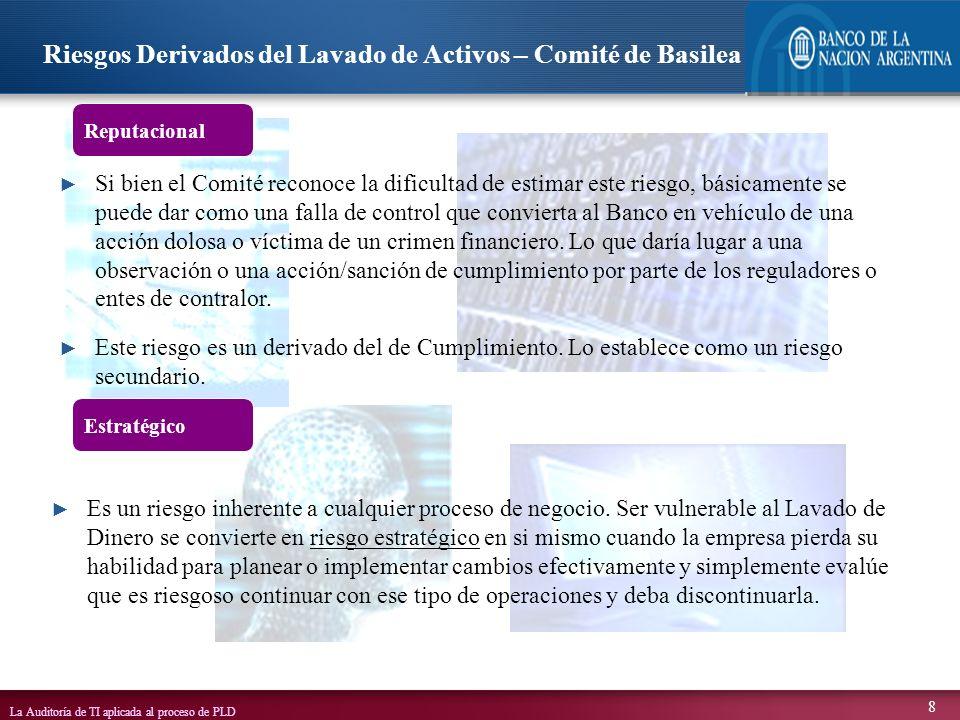 La Auditoría de TI aplicada al proceso de PLD 39 E T L CUENTASCORRIENTESCUENTASCORRIENTES CLIENTESCLIENTES TRANSFERSWIFTTRANSFERSWIFT CLEARINGCLEARING wwwwww REPORTES SAR / CTR LISTAS OFAC / UIF BASE DE DATOS MOTOR DE REGLAS SERVIDOR CONTROL LISTAS MODULO CIP/KYC ADMINISTADOR DE CASOS SISTEMAS CORE / LEGACY BANCO HTTPS OF.