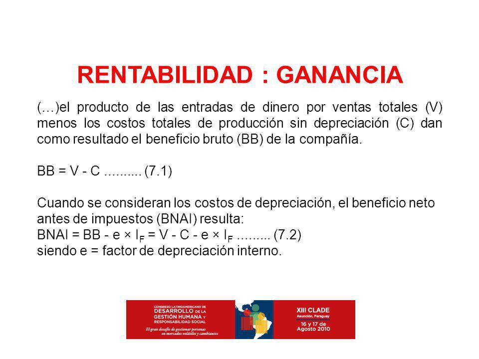 (…)el producto de las entradas de dinero por ventas totales (V) menos los costos totales de producción sin depreciación (C) dan como resultado el bene