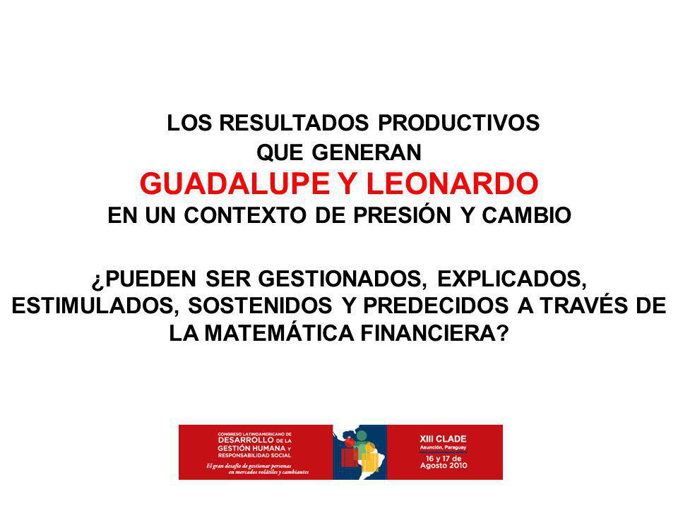 LOS RESULTADOS PRODUCTIVOS QUE GENERAN GUADALUPE Y LEONARDO EN UN CONTEXTO DE PRESIÓN Y CAMBIO ¿PUEDEN SER GESTIONADOS, EXPLICADOS, ESTIMULADOS, SOSTE