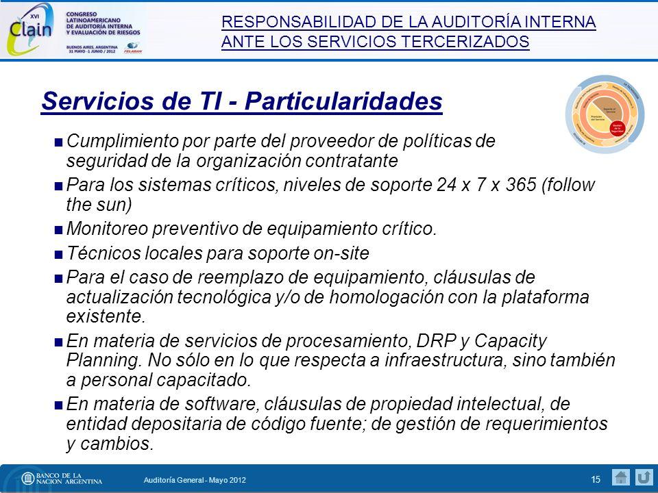 RESPONSABILIDAD DE LA AUDITORÍA INTERNA ANTE LOS SERVICIOS TERCERIZADOS Auditoría General - Mayo 2012 16 Qué nos ofrece el Marco de Trabajo COBIT.