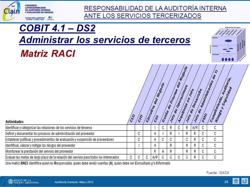 RESPONSABILIDAD DE LA AUDITORÍA INTERNA ANTE LOS SERVICIOS TERCERIZADOS Auditoría General - Mayo 2012 25 DS2 Administrar los servicios de terceros Entradas desde otros procesos Desde P01.