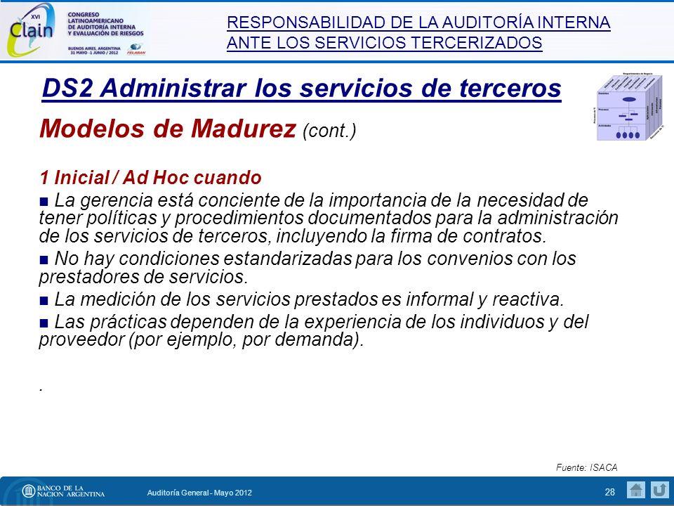RESPONSABILIDAD DE LA AUDITORÍA INTERNA ANTE LOS SERVICIOS TERCERIZADOS Auditoría General - Mayo 2012 29 DS2 Administrar los servicios de terceros Modelos de Madurez (cont.) 2 Repetible pero Intuitivo cuando El proceso de supervisión de los proveedores de servicios de terceros, de los riesgos asociados y de la prestación de servicios es informal.