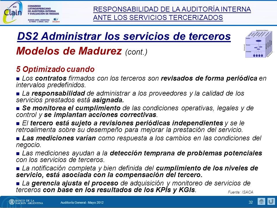 RESPONSABILIDAD DE LA AUDITORÍA INTERNA ANTE LOS SERVICIOS TERCERIZADOS Auditoría General - Mayo 2012 33 Modelos de Madurez Fuente: ISACA El Modelo de Madurez (COBIT 4.1) ha sido sustituido por el Modelo de Capacidad de Procesos (COBIT 5), el cual se basa en la norma ISO 15504 (estándar de evaluación de procesos).