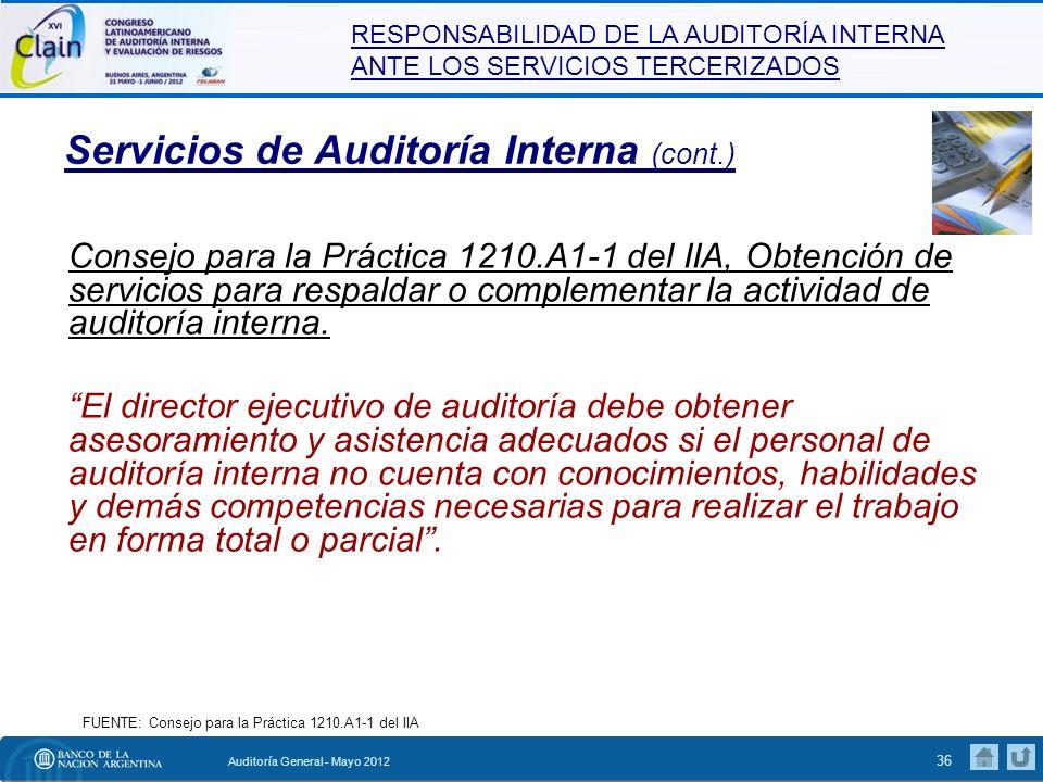 RESPONSABILIDAD DE LA AUDITORÍA INTERNA ANTE LOS SERVICIOS TERCERIZADOS Auditoría General - Mayo 2012 37 Auditoría Interna – Particularidades Disponibilidad de recursos.