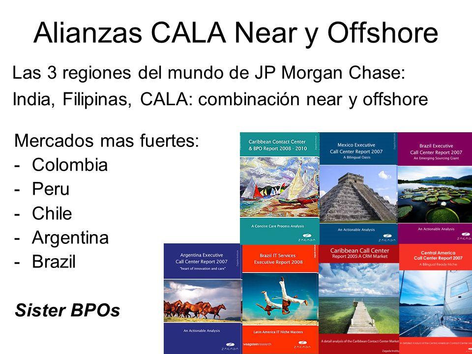 Alianzas CALA Near y Offshore Las 3 regiones del mundo de JP Morgan Chase: India, Filipinas, CALA: combinación near y offshore Mercados mas fuertes: -