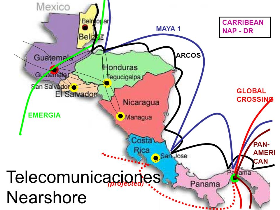MAYA 1 GLOBAL CROSSING (projected) EMERGIA ARCOS PAN- AMERI CAN CARRIBEAN NAP - DR Telecomunicaciones Nearshore