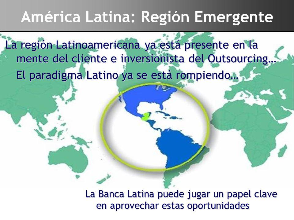América Latina: Región Emergente La región Latinoamericana ya está presente en la mente del cliente e inversionista del Outsourcing… El paradigma Lati