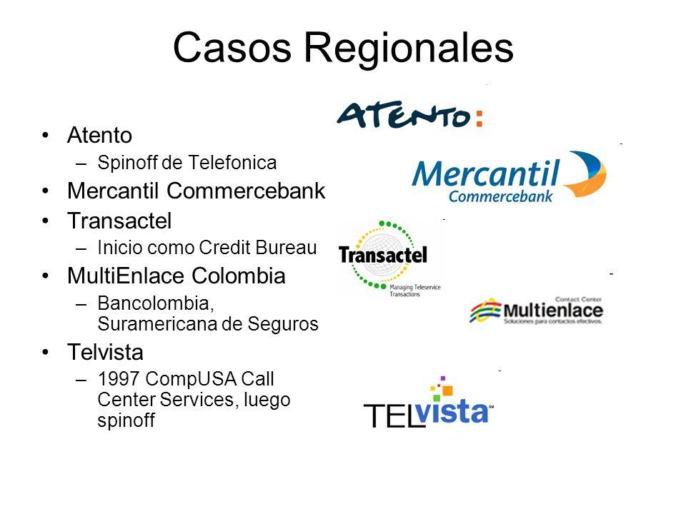 Casos Regionales Atento –Spinoff de Telefonica Mercantil Commercebank Transactel –Inicio como Credit Bureau MultiEnlace Colombia –Bancolombia, Suramer