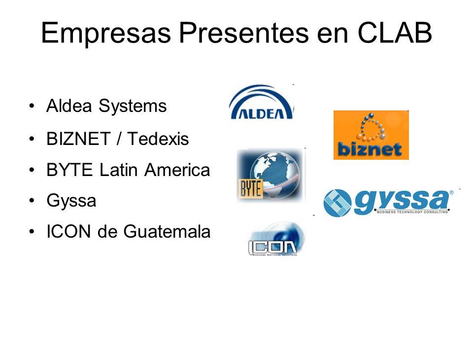 Empresas Presentes en CLAB Aldea Systems BIZNET / Tedexis BYTE Latin America Gyssa ICON de Guatemala