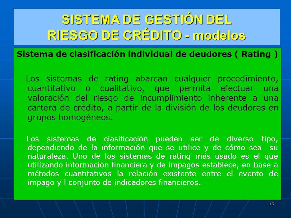 SISTEMA DE GESTIÓN DEL RIESGO DE CRÉDITO - modelos Sistema de clasificación individual de deudores ( Rating ) Los sistemas de rating abarcan cualquier procedimiento, cuantitativo o cualitativo, que permita efectuar una valoración del riesgo de incumplimiento inherente a una cartera de crédito, a partir de la división de los deudores en grupos homogéneos.