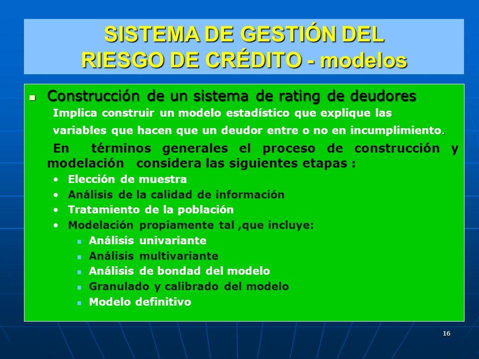 SISTEMA DE GESTIÓN DEL RIESGO DE CRÉDITO - modelos Construcción de un sistema de rating de deudores Construcción de un sistema de rating de deudores Implica construir un modelo estadístico que explique las.