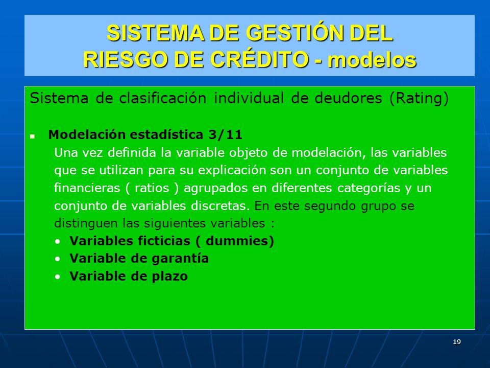 Sistema de clasificación individual de deudores (Rating) Modelación estadística 3/11 Una vez definida la variable objeto de modelación, las variables que se utilizan para su explicación son un conjunto de variables financieras ( ratios ) agrupados en diferentes categorías y un conjunto de variables discretas.