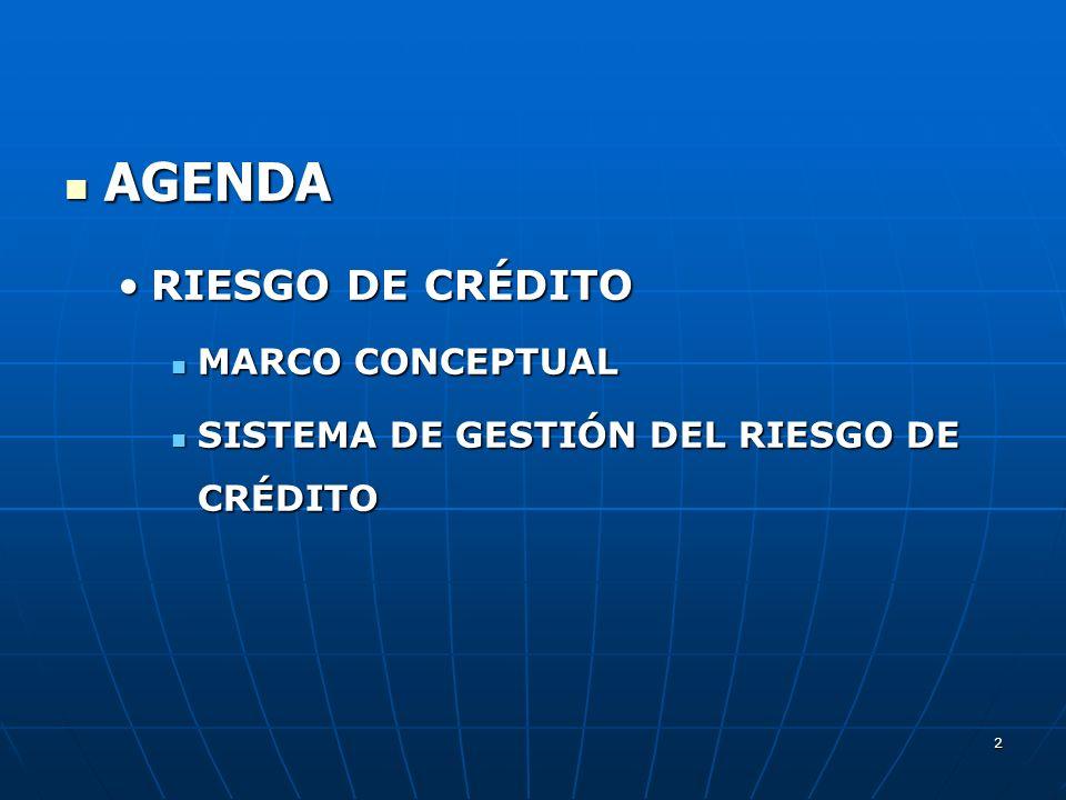 AGENDA AGENDA RIESGO DE CRÉDITORIESGO DE CRÉDITO MARCO CONCEPTUAL MARCO CONCEPTUAL SISTEMA DE GESTIÓN DEL RIESGO DE CRÉDITO SISTEMA DE GESTIÓN DEL RIESGO DE CRÉDITO 2