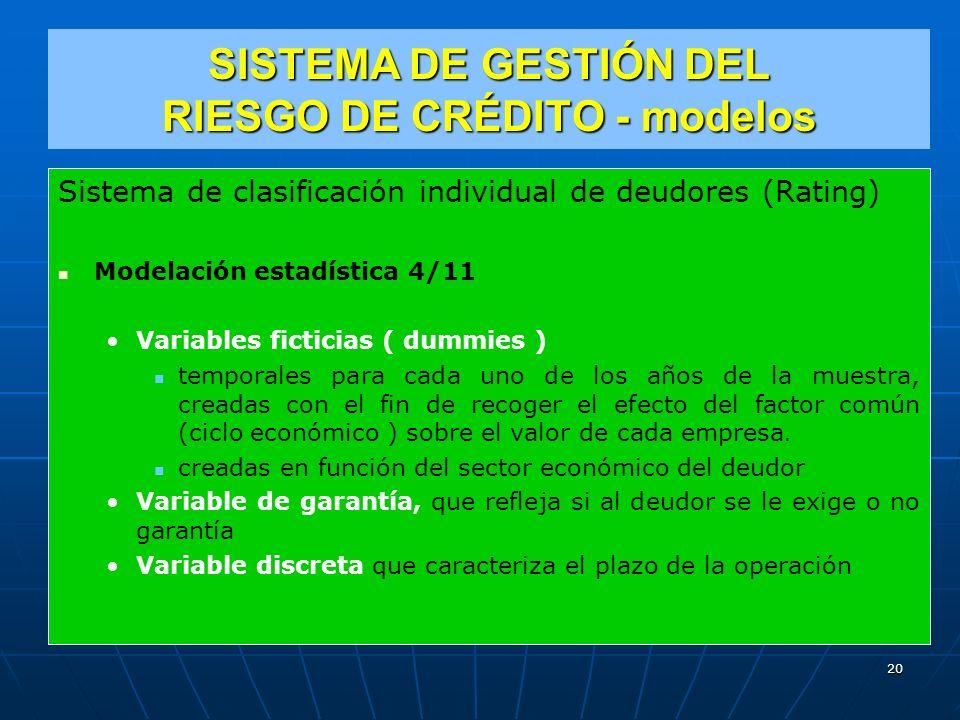 SISTEMA DE GESTIÓN DEL RIESGO DE CRÉDITO - modelos Sistema de clasificación individual de deudores (Rating) Modelación estadística 4/11 Variables ficticias ( dummies ) temporales para cada uno de los años de la muestra, creadas con el fin de recoger el efecto del factor común (ciclo económico ) sobre el valor de cada empresa.