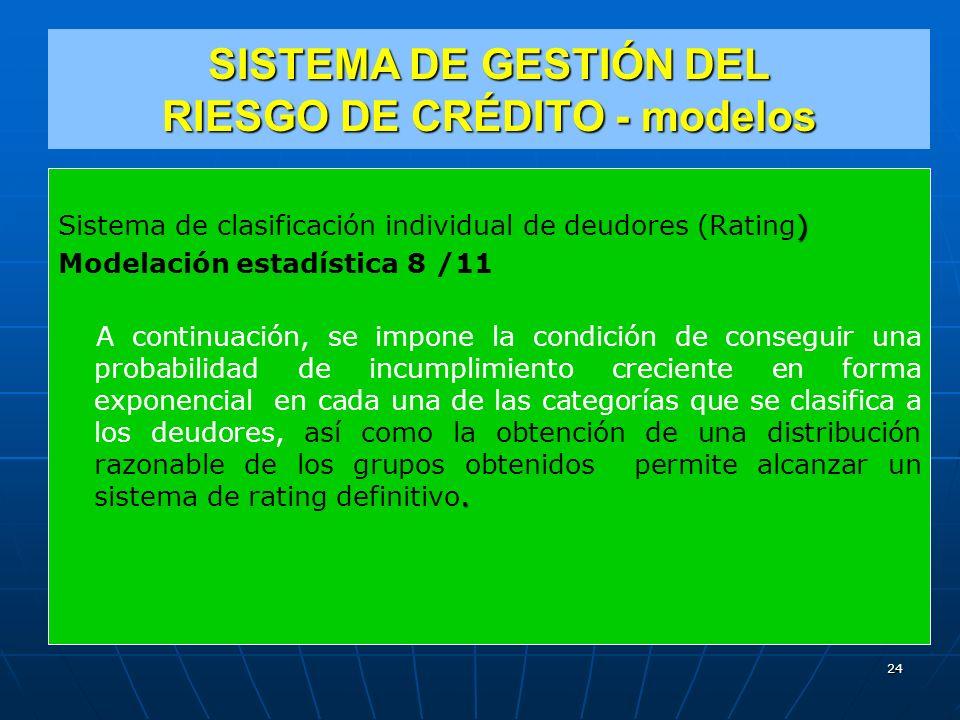 SISTEMA DE GESTIÓN DEL RIESGO DE CRÉDITO - modelos ) Sistema de clasificación individual de deudores (Rating) Modelación estadística 8 /11.