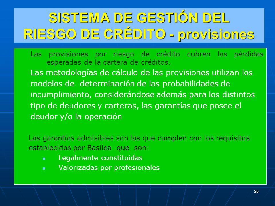 SISTEMA DE GESTIÓN DEL RIESGO DE CRÉDITO - provisiones Las provisiones por riesgo de crédito cubren las pérdidas esperadas de la cartera de créditos.