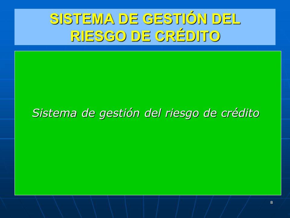 SISTEMA DE GESTIÓN DEL RIESGO DE CRÉDITO Sistema de gestión del riesgo de crédito 8