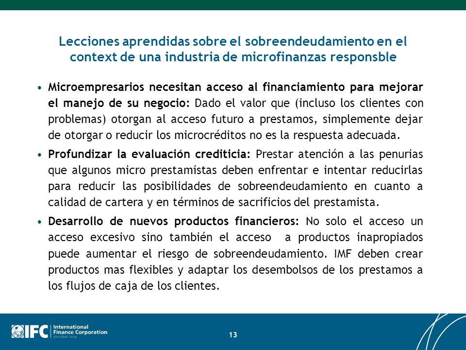 Lecciones aprendidas sobre el sobreendeudamiento en el context de una industria de microfinanzas responsble Microempresarios necesitan acceso al finan