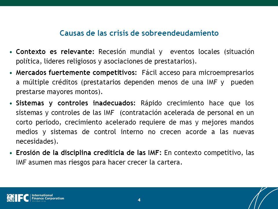 4 Causas de las crisis de sobreendeudamiento Contexto es relevante: Recesión mundial y eventos locales (situación política, lideres religiosos y asoci