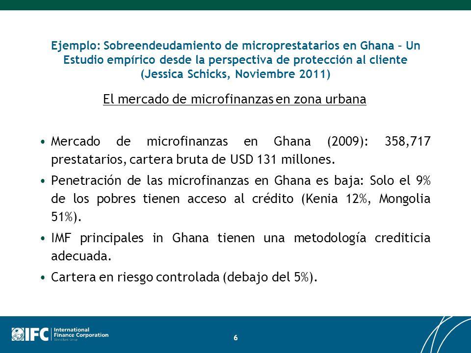 Ejemplo: Sobreendeudamiento de microprestatarios en Ghana – Un Estudio empírico desde la perspectiva de protección al cliente (Jessica Schicks, Noviem