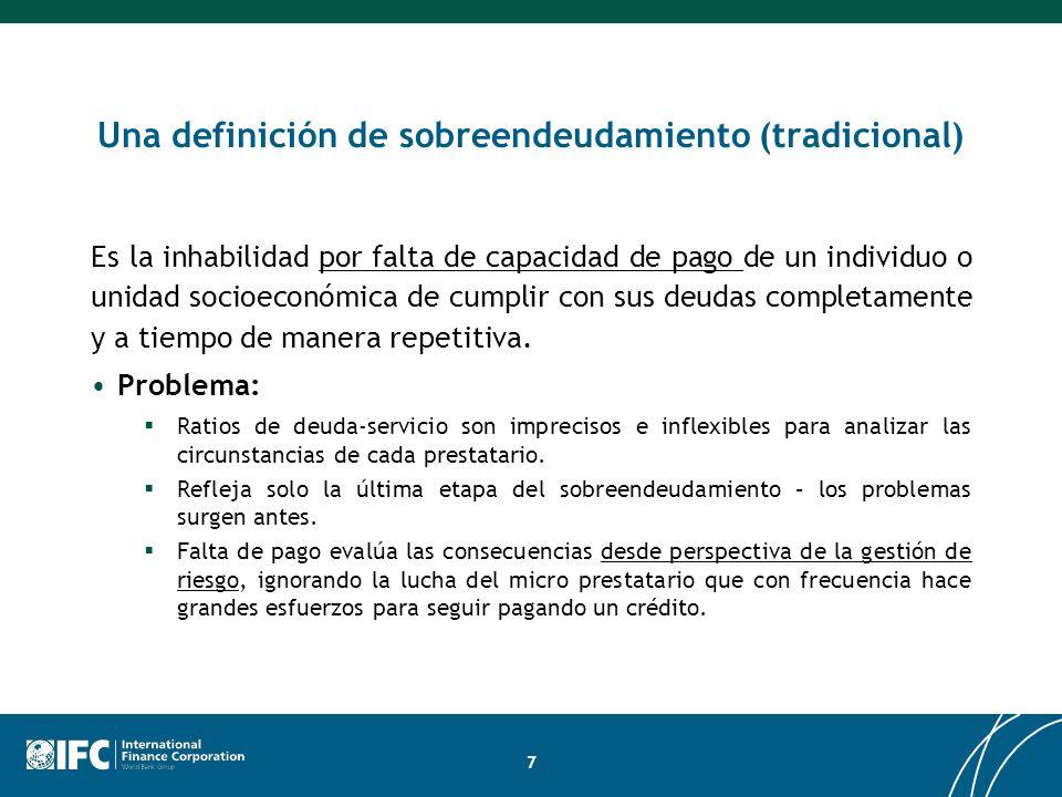 Una definición de sobreendeudamiento (tradicional) Es la inhabilidad por falta de capacidad de pago de un individuo o unidad socioeconómica de cumplir