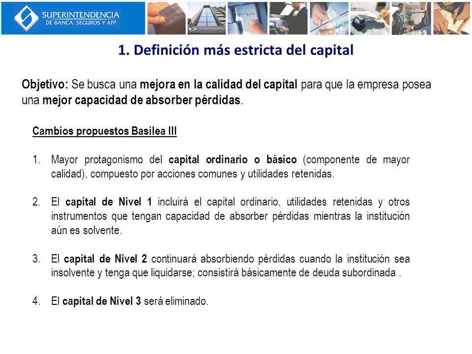 1. Definición más estricta del capital Objetivo: Se busca una mejora en la calidad del capital para que la empresa posea una mejor capacidad de absorb