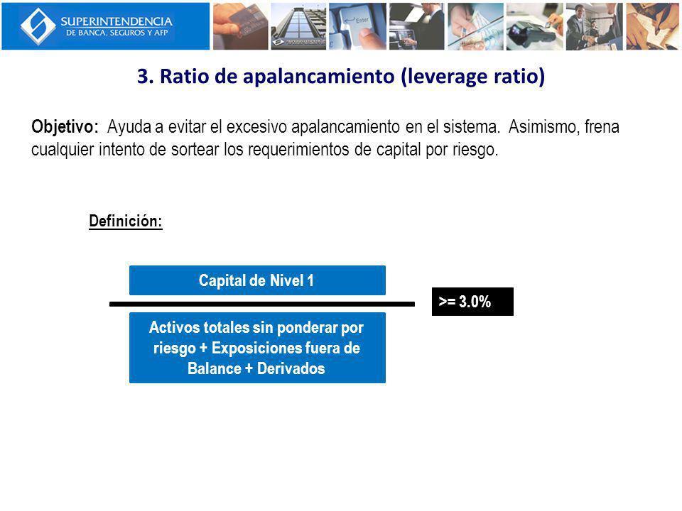 3. Ratio de apalancamiento (leverage ratio) Objetivo: Ayuda a evitar el excesivo apalancamiento en el sistema. Asimismo, frena cualquier intento de so