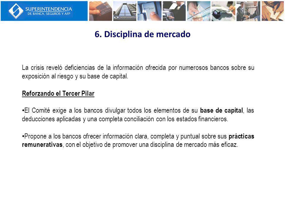 6. Disciplina de mercado La crisis reveló deficiencias de la información ofrecida por numerosos bancos sobre su exposición al riesgo y su base de capi