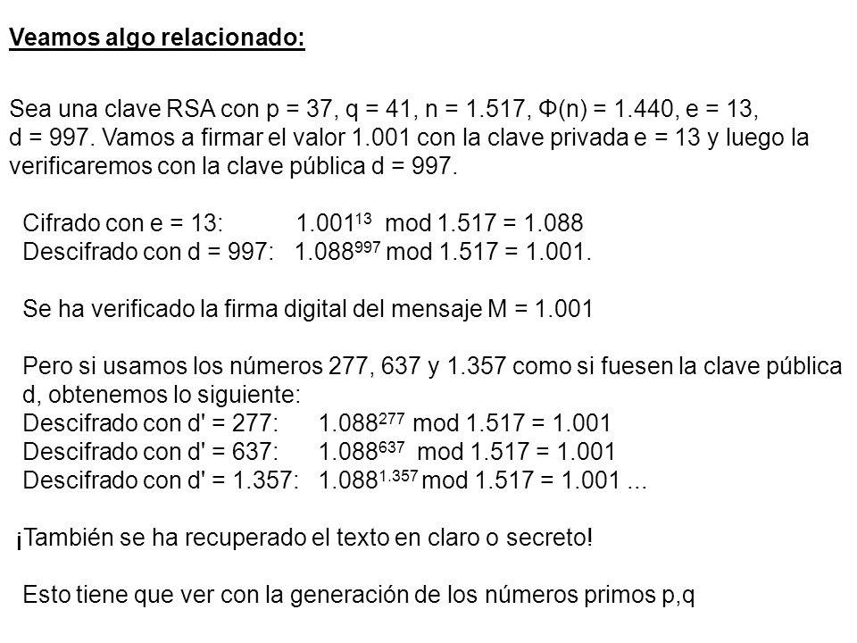 Veamos algo relacionado: Sea una clave RSA con p = 37, q = 41, n = 1.517, Φ(n) = 1.440, e = 13, d = 997.
