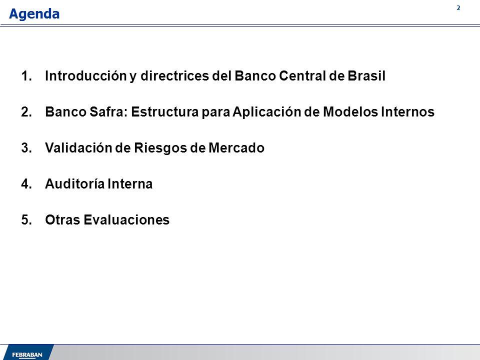 3 Agenda 1.Introducción y directrices del Banco Central de Brasil 2.Banco Safra: Estructura para Aplicación de Modelos Internos 3.Validación de Riesgos de Mercado 4.Auditoría Interna 5.Otras Evaluaciones
