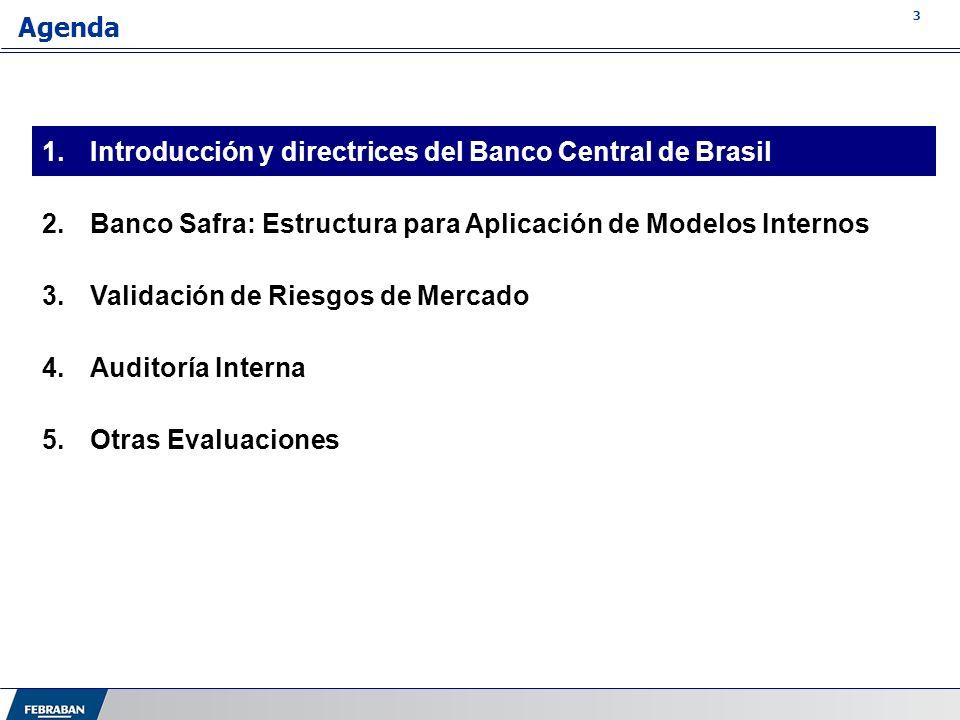 3 Agenda 1.Introducción y directrices del Banco Central de Brasil 2.Banco Safra: Estructura para Aplicación de Modelos Internos 3.Validación de Riesgo