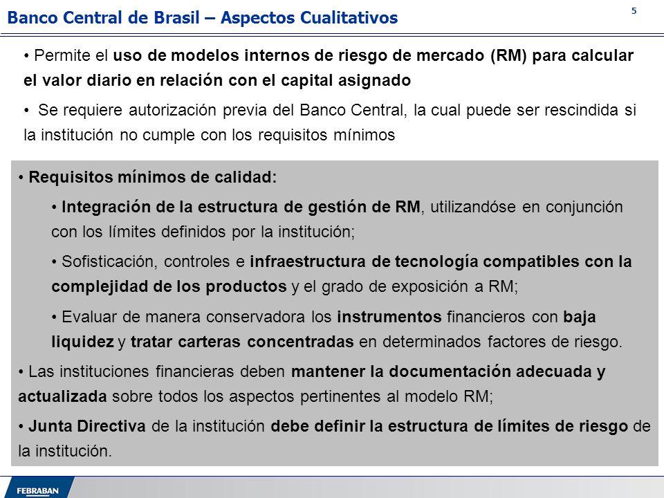 5 Permite el uso de modelos internos de riesgo de mercado (RM) para calcular el valor diario en relación con el capital asignado Se requiere autorizac