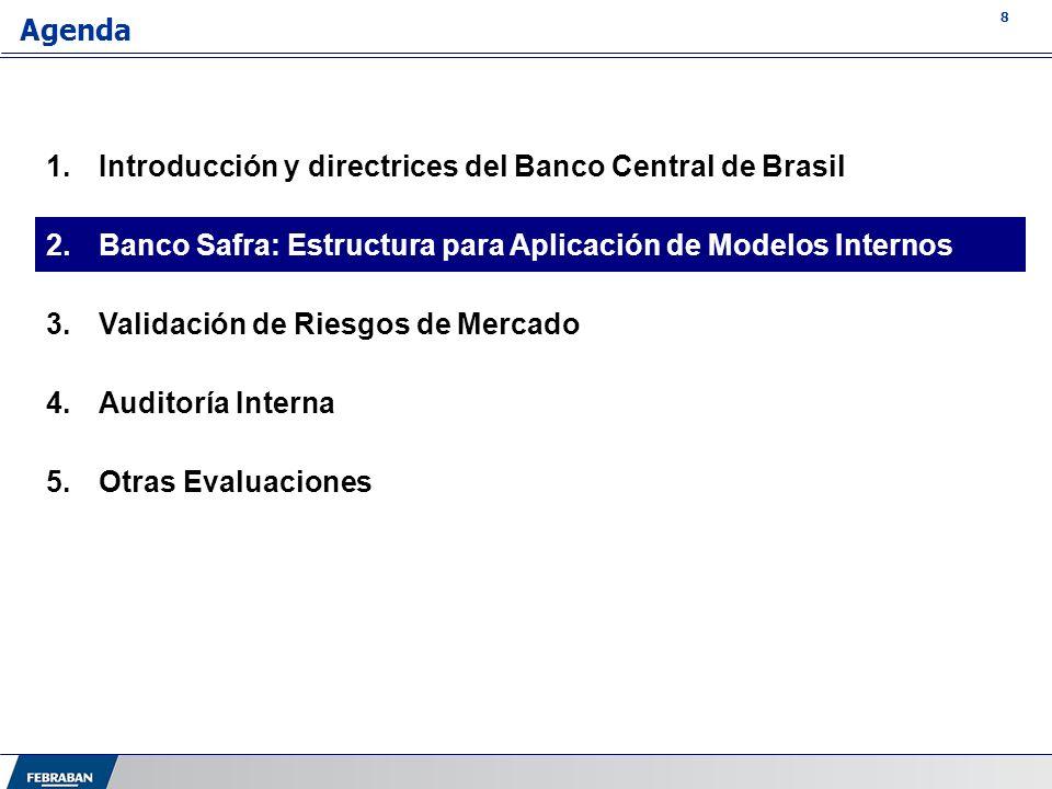 8 Agenda 1.Introducción y directrices del Banco Central de Brasil 2.Banco Safra: Estructura para Aplicación de Modelos Internos 3.Validación de Riesgo