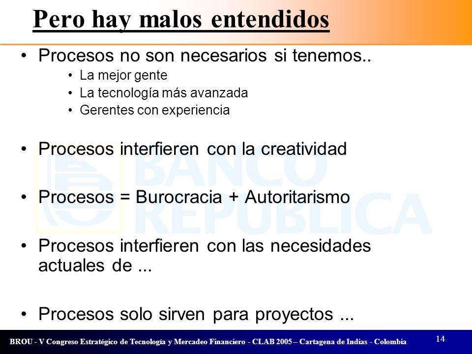 14 BROU - V Congreso Estratégico de Tecnología y Mercadeo Financiero - CLAB 2005 – Cartagena de Indias - Colombia Pero hay malos entendidos Procesos n
