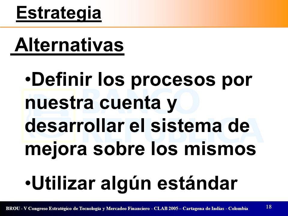 18 BROU - V Congreso Estratégico de Tecnología y Mercadeo Financiero - CLAB 2005 – Cartagena de Indias - Colombia Alternativas Definir los procesos po