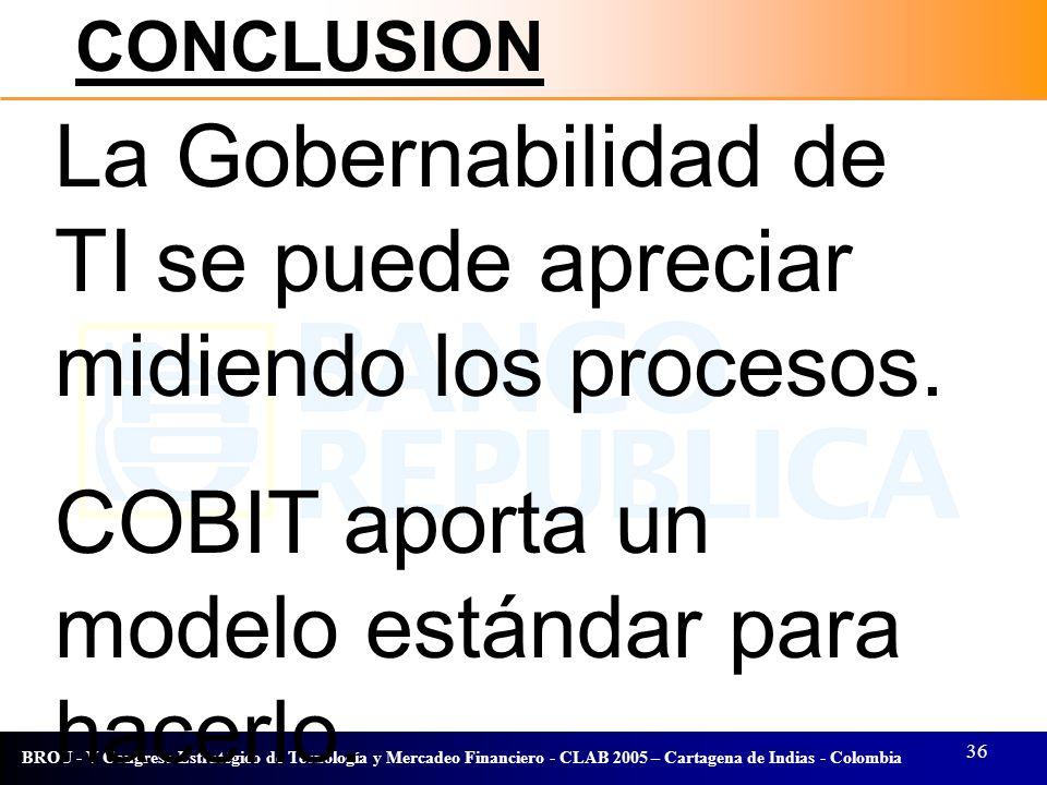 36 BROU - V Congreso Estratégico de Tecnología y Mercadeo Financiero - CLAB 2005 – Cartagena de Indias - Colombia La Gobernabilidad de TI se puede apr