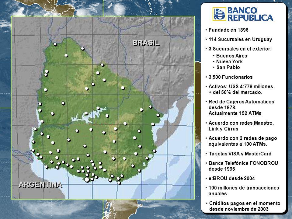 5 ARGENTINA ARGENTINA BRASIL BRASIL Fundado en 1896 114 Sucursales en Uruguay 3 Sucursales en el exterior: Buenos Aires Nueva York San Pablo 3.500 Fun