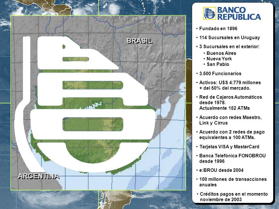 6 BROU - V Congreso Estratégico de Tecnología y Mercadeo Financiero - CLAB 2005 – Cartagena de Indias - Colombia ARGENTINA BRASIL Fundado en 1896 114